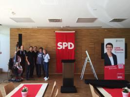Vorbereitung zur Nominierungsversammlung der Oberbürgermeisterkandidatin Karin Frankerl
